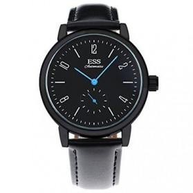 ESS Jam Tangan Mechanical Automatic Leather Strap - WM573/591/592 - Black/Black - 1