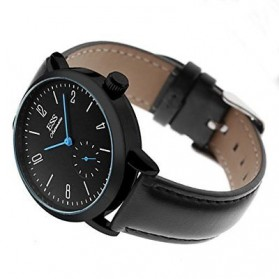 ESS Jam Tangan Mechanical Automatic Leather Strap - WM573/591/592 - Black/Black - 2