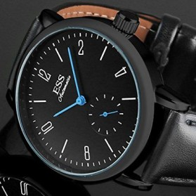 ESS Jam Tangan Mechanical Automatic Leather Strap - WM573/591/592 - Black/Black - 3