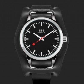 ESS Jam Tangan Analog Pria Luxury Men Leather Strap - WM599 - Black