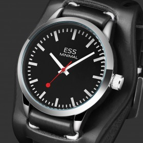 ESS Jam Tangan Analog Pria Luxury Men Leather Strap - WM599 - Black - 2