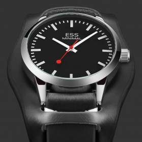 ESS Jam Tangan Analog Pria Luxury Men Leather Strap - WM599 - Black - 3