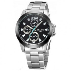 SKONE Casual Men Stainless Strap Watch Water Resistant 10m - 7063 - Silver Black