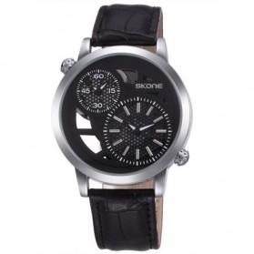 SKONE Casual Men Leather Strap Watch Water Resistant 10m - 9248 - Black