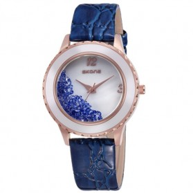 SKONE Casual Woman Leather Strap Watch Water Resistant 10m - 9324 - Blue