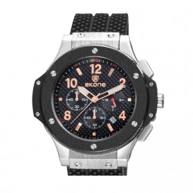 SKONE Casual Rubber Strap Watch Water Resistant 10m - 5144EG - Black/Silver