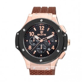 SKONE Casual Rubber Strap Watch Water Resistant 10m - 5144EG - Brown