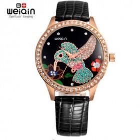 Weiqin Jam Tangan Wanita Hummingbird Dial Rhinestone - wei5960 - Black