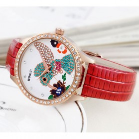 Weiqin Jam Tangan Wanita Hummingbird Dial Rhinestone - wei5960 - Red - 4