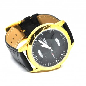 Ousion Quartz Men Leather Band Fashion Watch - OS319G - Black - 3
