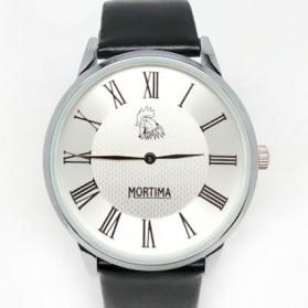 Trend Fashion Pria Terbaru - Mortima Jam Tangan Kasual Pria Leather Strap - Model 1 - Black White