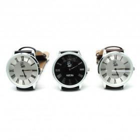 Mortima Jam Tangan Kasual Pria Leather Strap - Model 1 - Black/Black - 3