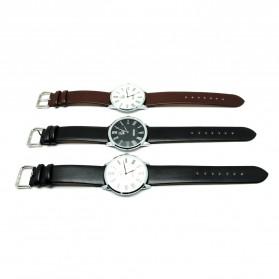 Mortima Jam Tangan Kasual Pria Leather Strap - Model 1 - Black/Black - 4