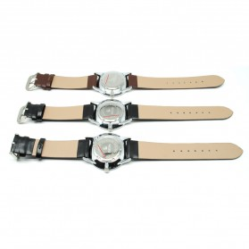 Mortima Jam Tangan Kasual Pria Leather Strap - Model 1 - Black/Black - 5