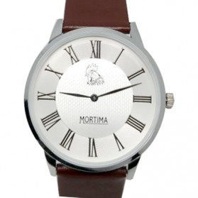 Mortima Jam Tangan Kasual Pria Leather Strap - Model 1 - Brown/White