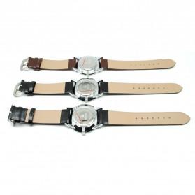 Mortima Jam Tangan Kasual Pria Leather Strap - Model 1 - Brown/White - 5