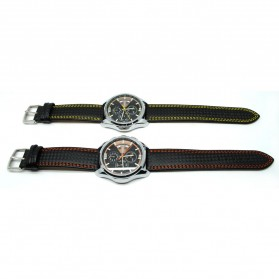 Mortima Jam Tangan Kasual Pria Leather Strap - Model 8 - Orange - 4