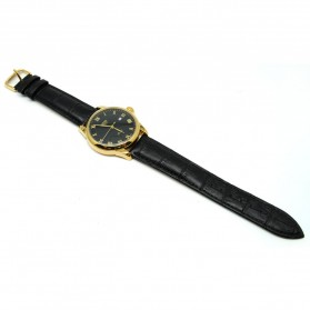 Mortima Jam Tangan Kasual Pria Leather Strap - Model 9 - Black Gold