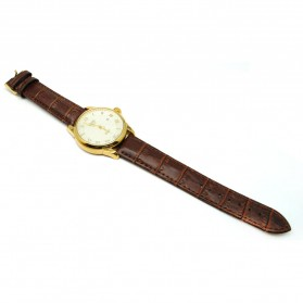 Mortima Jam Tangan Kasual Pria Leather Strap - Model 9 - White/Gold