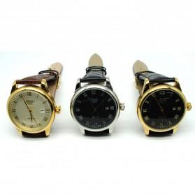 Mortima Jam Tangan Kasual Pria Leather Strap - Model 9 - Black/Black - 2