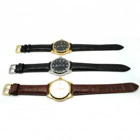 Mortima Jam Tangan Kasual Pria Leather Strap - Model 9 - Black/Black - 3