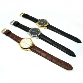 Mortima Jam Tangan Kasual Pria Leather Strap - Model 9 - Black/Black - 5