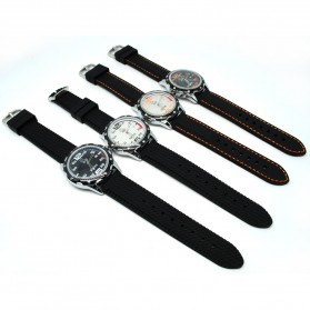 Mortima Jam Tangan Kasual Pria Rubber Strap - Model 3 - Black/Black - 2