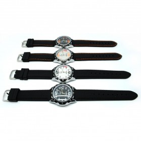 Mortima Jam Tangan Kasual Pria Rubber Strap - Model 3 - Black/Black - 4