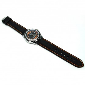 Mortima Jam Tangan Kasual Pria Rubber Strap - Model 3 - Black/Orange