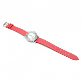 Mortima Jam Tangan Kasual Wanita Leather Strap - Model 4 - Red