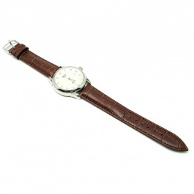 Mortima Jam Tangan Kasual Pria Leather Strap - Model 5 - Brown/White