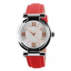 Mortima Jam Tangan Kasual Wanita Leather Strap Watch - 9075CL - Red