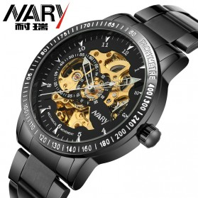 Nary Jam Tangan Mechanical Strap Stainless Steel - 18026 - Black/Black