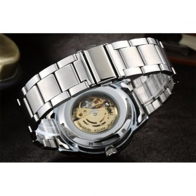 Nary Jam Tangan Mechanical Strap Stainless Steel - 18026 - Black/Black - 5