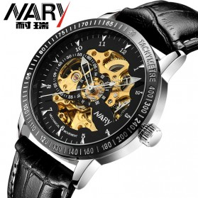 Nary Jam Tangan Mechanical Strap Kulit - 18026 - Black/Silver