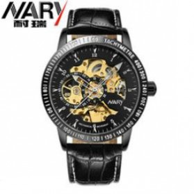 Nary Jam Tangan Mechanical Strap Kulit - 18026 - Black