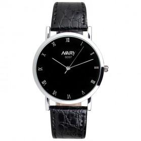 Nary Jam Tangan Analog Pria Strap Kulit - 6097 - Black/Silver