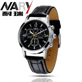 Nary Jam Tangan Analog Pria Strap Kulit - 6033 - Black/Silver