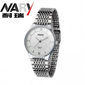 Nary Jam Tangan Analog Pria Strap Stainless Steel - 6019 - White/Silver
