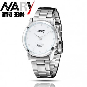 Nary Jam Tangan Analog Pria Strap Stainless Steel - 6003 - White/Silver