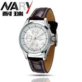 Nary Jam Tangan Analog Strap Kulit - 6050 - Brown/White