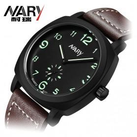 Nary Jam Tangan Analog Strap Kulit - 6119 - Black/Green - 2