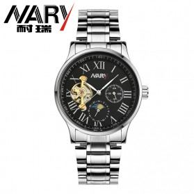 Nary Jam Tangan Mechanical Strap Stainless Steel - 18024 - Black/Silver