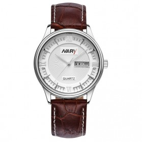 Nary Jam Tangan Analog Strap Kulit - 5400 - Brown/White