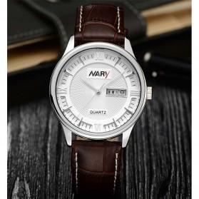 Nary Jam Tangan Analog Strap Kulit - 5400 - Brown/White - 2