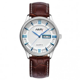 Nary Jam Tangan Analog Strap Kulit - 5400 - Brown/Blue