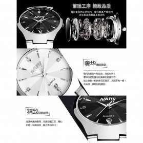 Nary Jam Tangan Analog Strap Stainless Steel - 6112 - Silver Black - 4