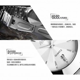 Nary Jam Tangan Analog Strap Stainless Steel - 6112 - Silver Black - 5
