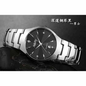 Nary Jam Tangan Analog Strap Stainless Steel - 6112 - Silver Black - 6