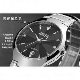 Nary Jam Tangan Analog Strap Stainless Steel - 6112 - Silver Black - 7